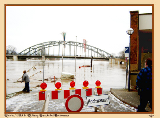 Rinteln Blick auf den alten Hafen zur Winterzeit