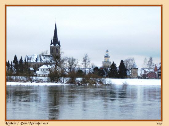 Rinteln - Die Stadt in der dunkelen Jahreszeit , vom Nordufer aus
