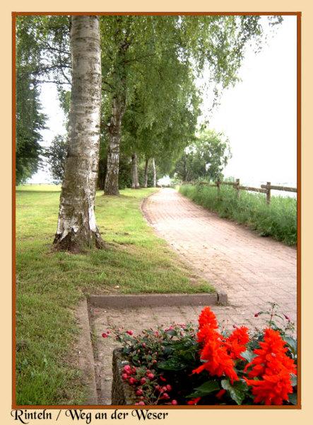 Rinteln - Dieser Spazier- und Radweg führt südlich der Weser entlang