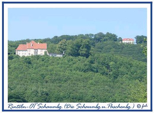 Die Schaumburg mit der Paschenburg (oberhalb) bei Rinteln.