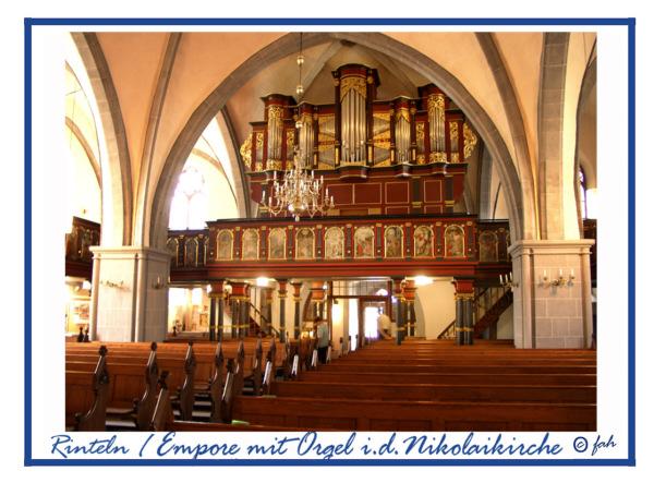 Rinteln - Empore mit Orgel in der Nikolaikirche.