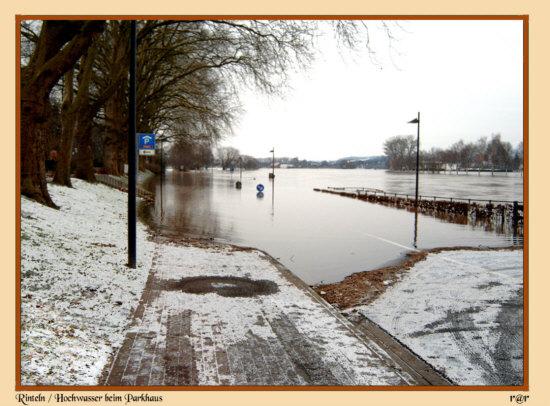 Rinteln - Winterhochwasser in der Nähe vom Parkhaus